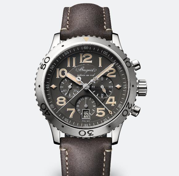 The brown strap matches the color of the gray dial very well.