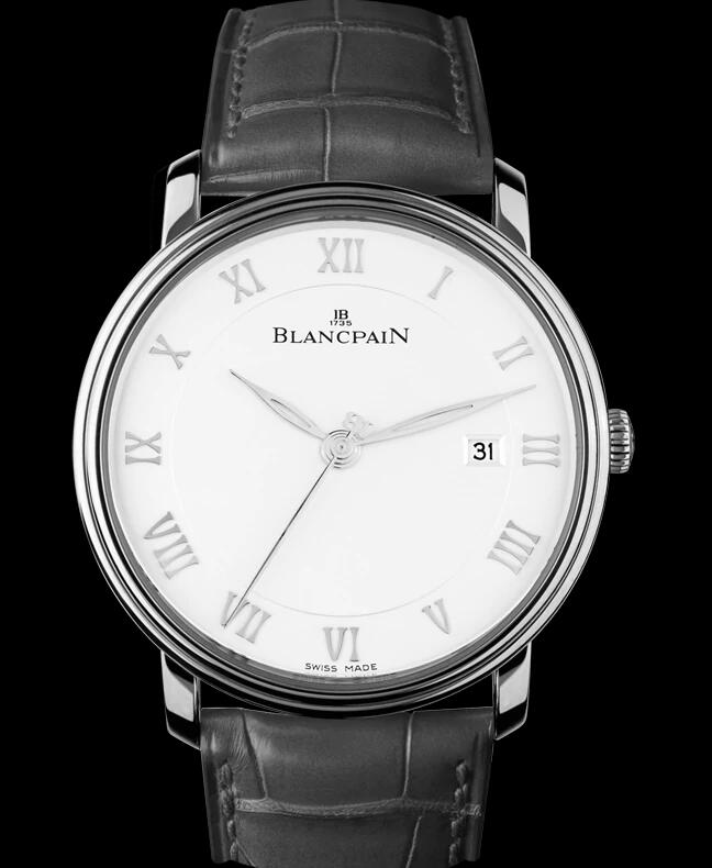 The black leather strap and the white dial are the classic matching of classic wrist watches for formal occasion.