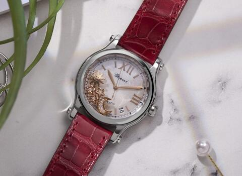 The rose gold hands,moon,sun and stars add the noble touch to the timepiece.