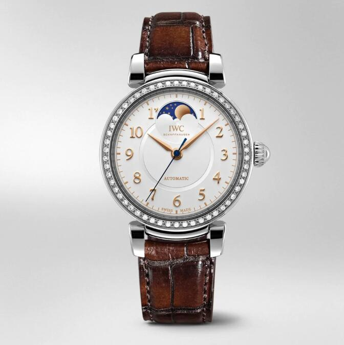 The stainless steel fake watch is decorated with diamonds.