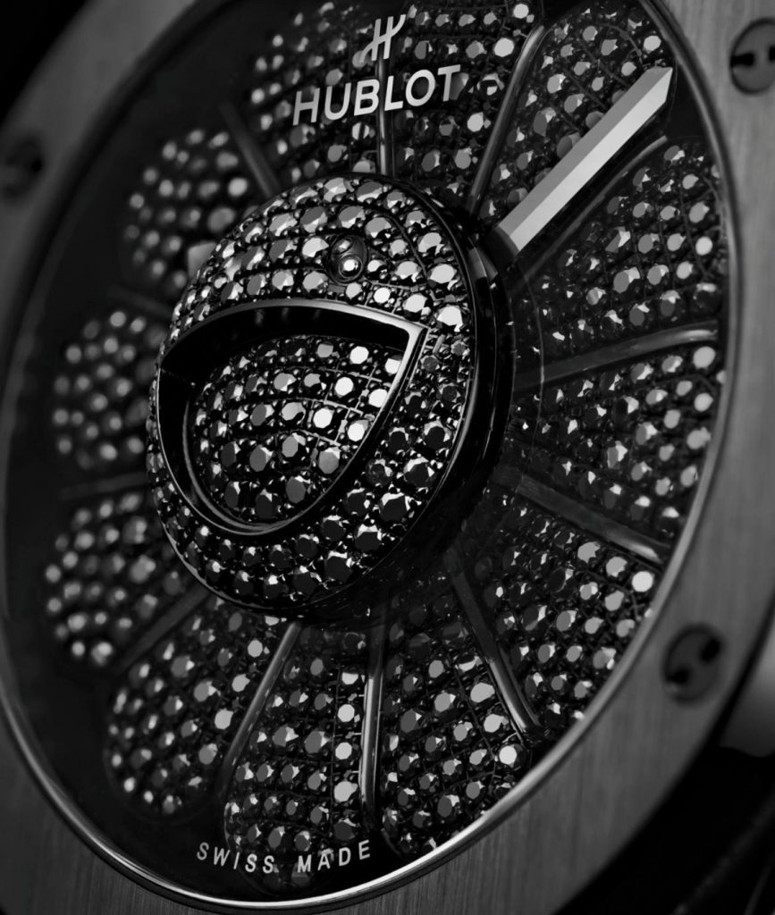 The 45mm fake watch is decorated with 456 black diamonds.