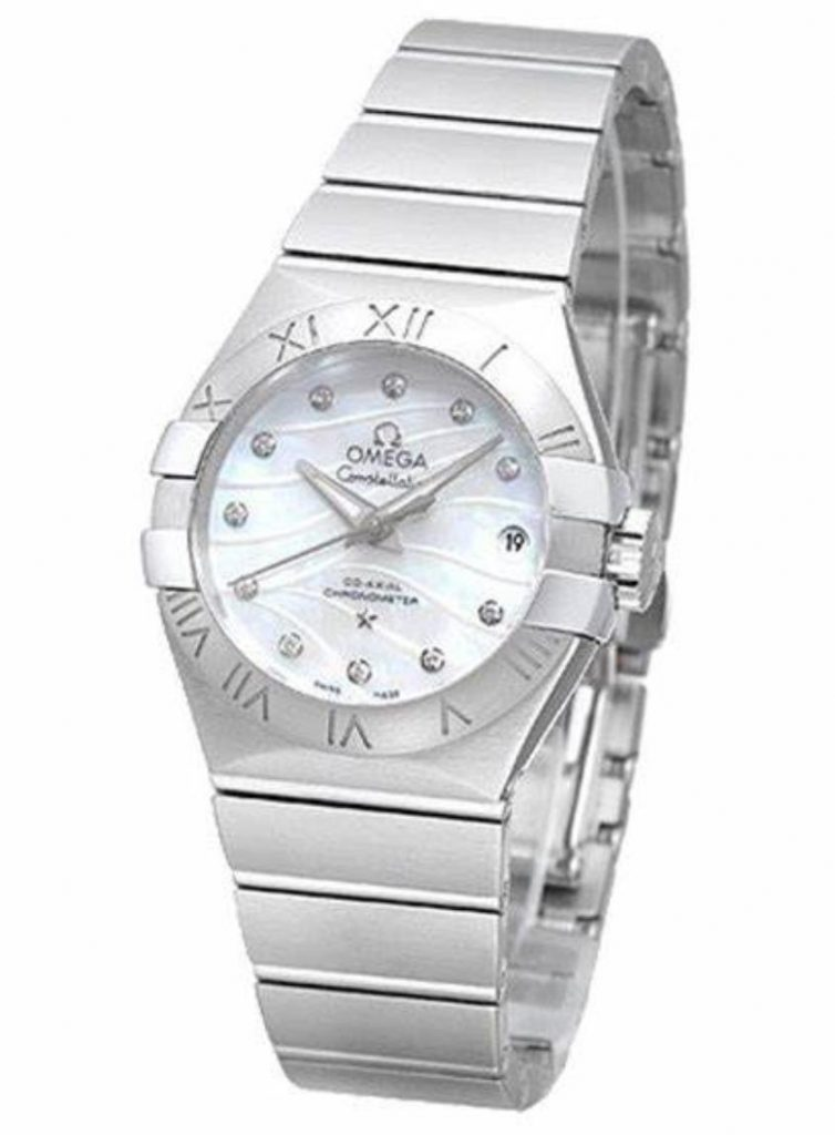 The stainless steel fake watch has a white mother-of-pearl dial.