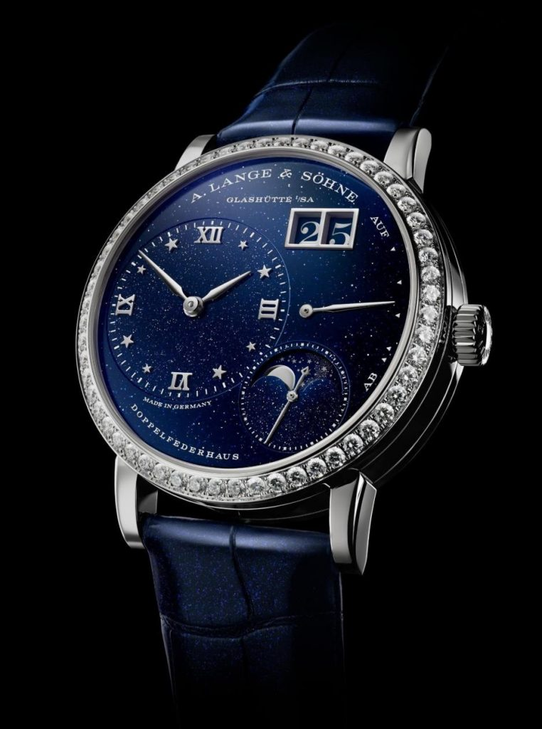 The blue strap fake watch is designed for women.