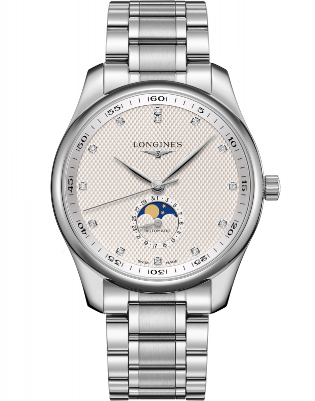 This silvery dial fake watch has a moon phase.